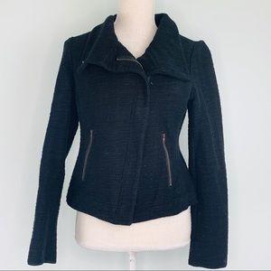 Loft Black Textures Cropped Zip Up Jacket Sz 6